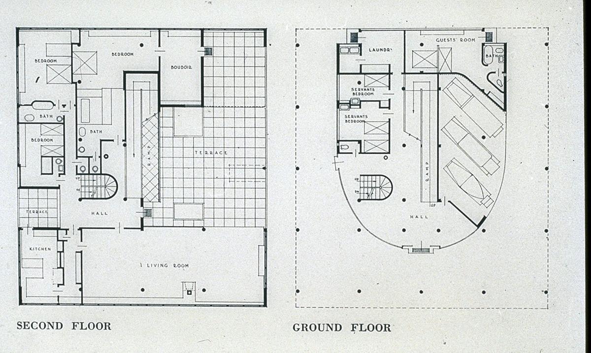Villa Savoye 2nd Floor Plan Villa savoye  plan Villa Savoye 2nd Floor Plan