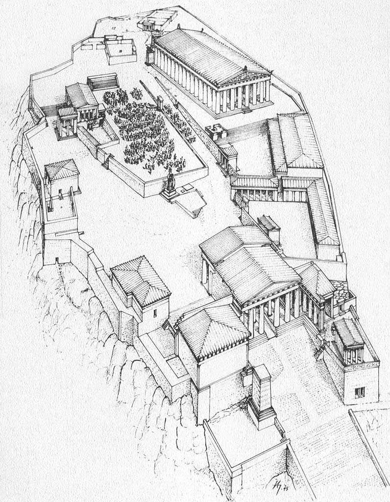 id 7565 src acroteria from area sacra st omobono hercules and Roman Table id 3 src athens parthenon axonometric reconstruction of south side drawing m korres id 5 src athens parthenon drawing of ruins by j d le roy c